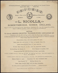 Advertisement for L. Nicolls, Cricket Bat Manufacturer